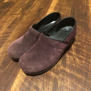 Dansko Leather Suede Purple Clogs